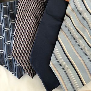 Lot of 4 blue extra long 100% silk ties